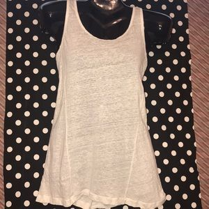 White Tank Top in Linen Size S